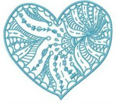 Funny web on heart embroidery design
