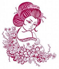 Geisha and flowers 2 embroidery design