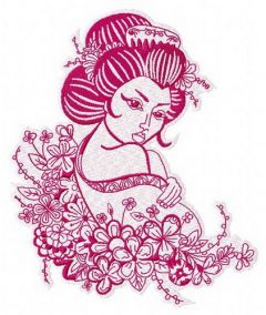 Geisha and flowers embroidery design