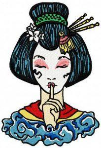 Geisha be quiet embroidery design