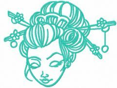 Geisha face embroidery design