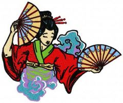 Geisha with fans embroidery design