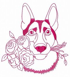German Shepherd with roses 2 embroidery design