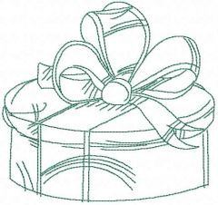Gift box embroidery design