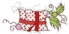 Gift in polka dot wrapping paper embroidery design