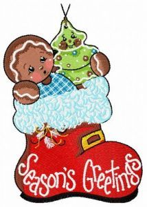Gingerbread boy 4 embroidery design