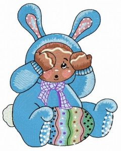 Gingerbread boy in bunny costume embroidery design