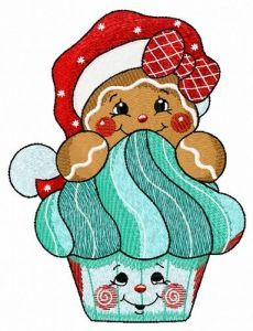 Gingerbread cupcake embroidery design