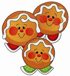 Gingerbread family 3 embroidery design