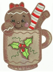 Gingerbread girl 4 embroidery design