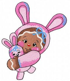 Gingerbread girl in bunny costume 2 embroidery design