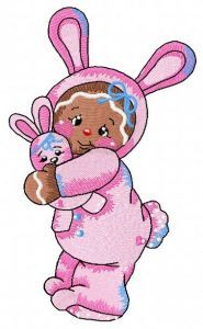 Gingerbread girl in bunny costume embroidery design