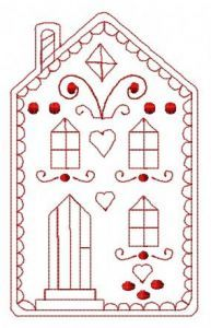 Gingerbread house 3 embroidery design