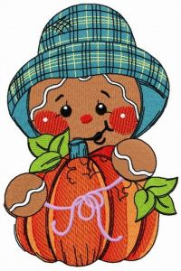 Gingerbread man with pumpkin 2 embroidery design