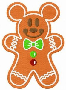 Gingerbread Mickey Mouse embroidery design