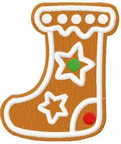 Gingerbread stocking embroidery design