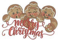Gingerbread trio 3 embroidery design