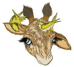 Giraffe and canaries embroidery design