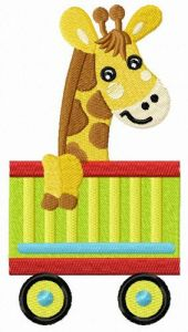 Giraffe in cart embroidery design