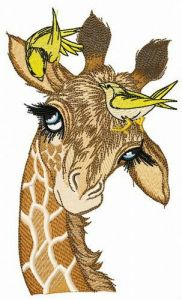 Giraffe with yellow birdies embroidery design