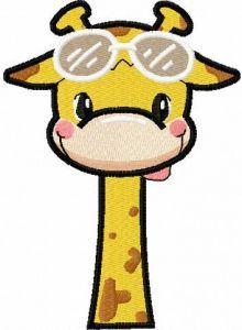 Giraffe with sunglasses embroidery design