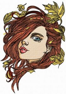 Girl and autumn fall 3 embroidery design