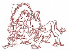 Girl and calf embroidery design 3
