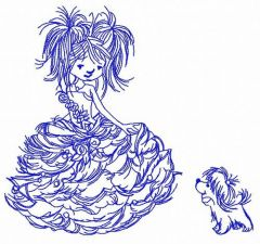 Girl in a luxurious dress 4 embroidery design