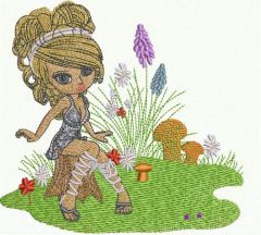 Girl in forest embroidery design