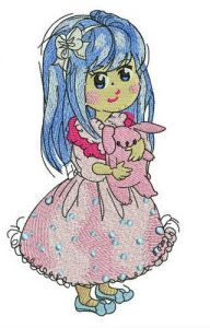 Girl in lush pink dress embroidery design
