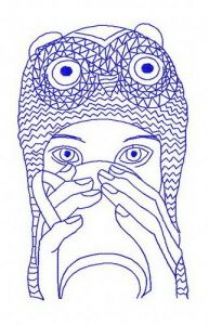 Girl in owl hat 3 embroidery design