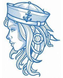Girl sailor blue gamma embroidery design