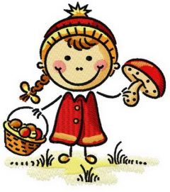 Girl with mushrooms embroidery design