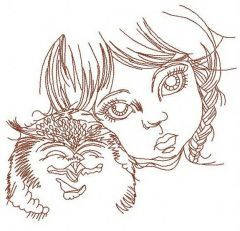 Girl with owl 2 embroidery design