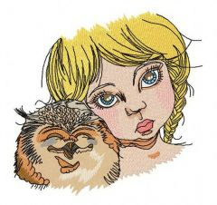 Girl with owl embroidery design