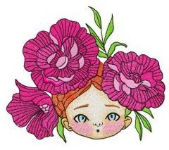 Girl with peony wreath embroidery design