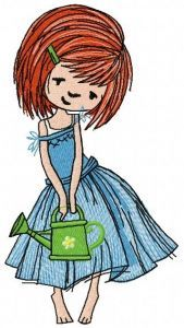 Girl with watering can 4 embroidery design