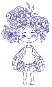 Girl with wings and peony wreath embroidery design