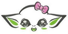 Girlish humanoid alien embroidery design