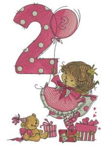 Girl's 2nd birthday embroidery design