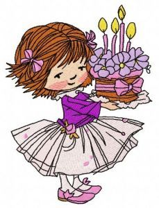 Girl's 4th birthday embroidery design