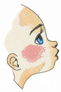 Girl's profile embroidery design