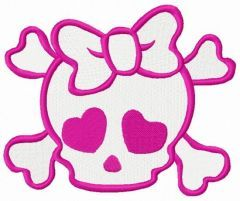 Girl's skull with crossed bones embroidery design