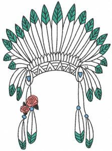 Girls warbonnet embroidery design