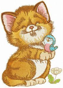 Glad cat embroidery design