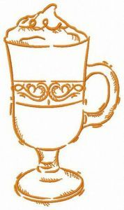 Glass of latte macchiato embroidery design