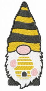 Gnome with beehive embroidery design