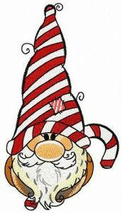 Gnome with sweet candy cane embroidery design
