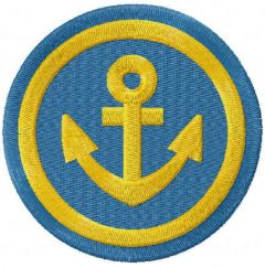 Gold anchor badge embroidery design