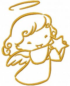 Gold angel with star embroidery design